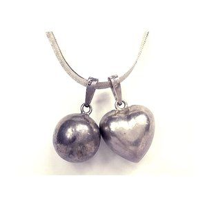 Sterling Harmony Bell Chime Sphere Heart Necklace
